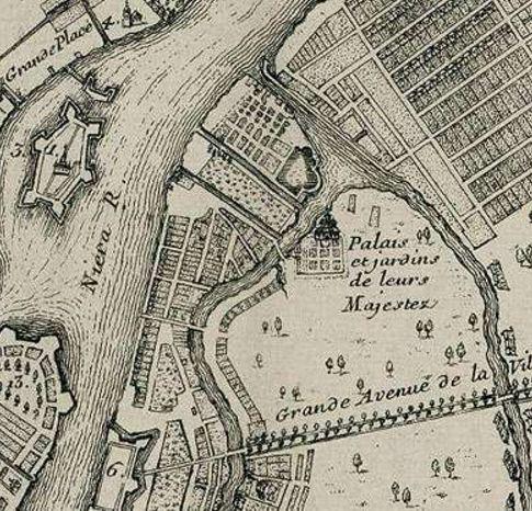 Первый деревянный мост на плане 1717 года. Карту составил Николя де Фер, один из наиболее прославленных французских географов и картографов конца XVII - начала XVIII века. Источник: http://www.spbin.ru/photos/maps/map_spb_1717_high.jpg