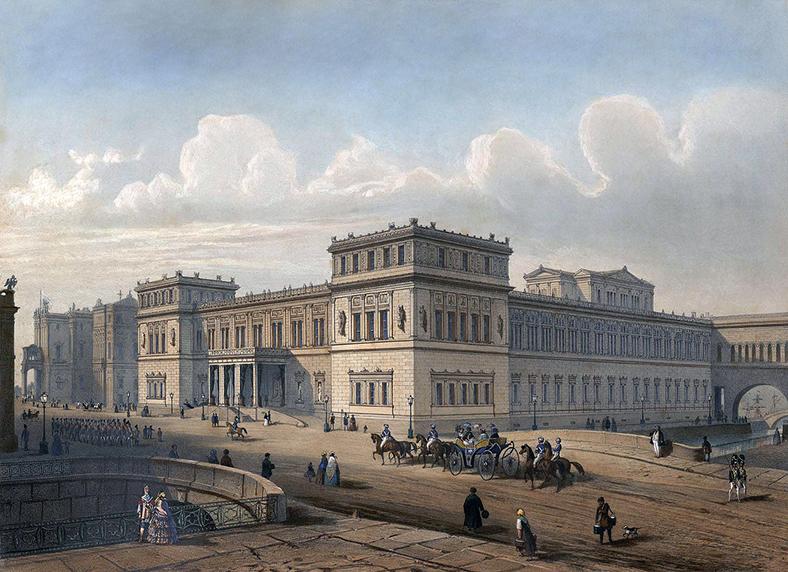 Новый Эрмитаж и Зимний мост в середине XIX века, литография по рисунку И.И. Шарлеманя