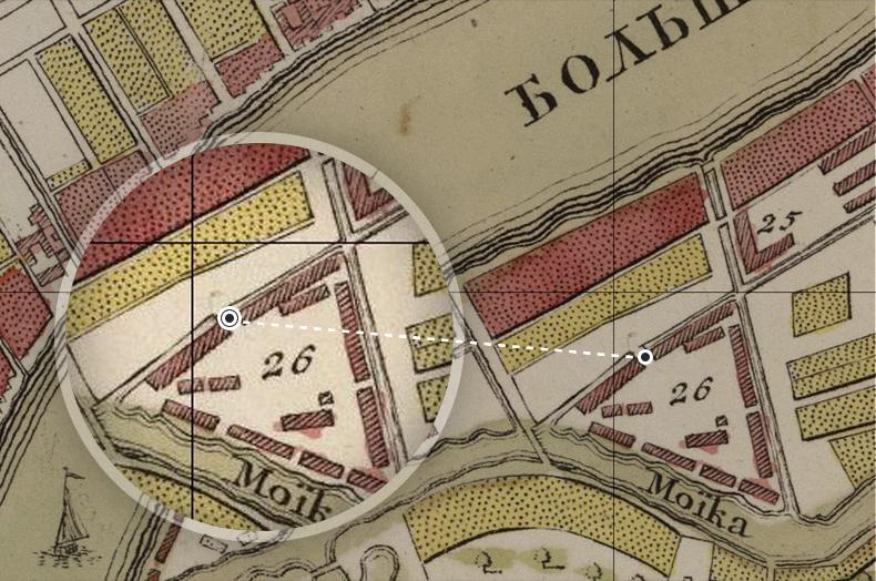 Прядильный  канал и мост на Новую Голландию на плане Санкт-Петербурга 1737 года. В пояснении к плану на острове Новая Голландия указаны «амбары, в которых лежит дубовый лес для строения военных кораблей и галер»