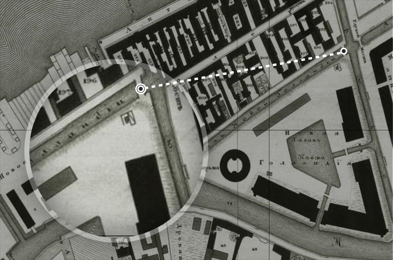 Мосты через канал Новой Голландии на плане Санкт-Петербурга 1828 года