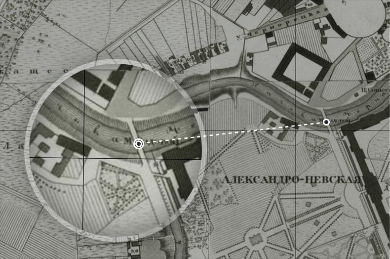Садовый (будущий 2-й Лаврский) мост на плане Санкт-Петербурга 1828 года