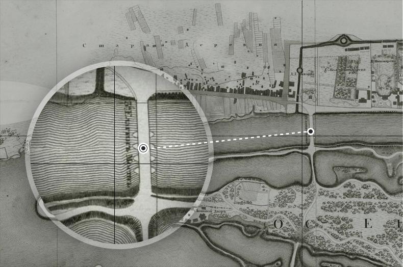 Наплавной 3-й Елагин мост на плане Санкт-Петербурга  1828 года.
