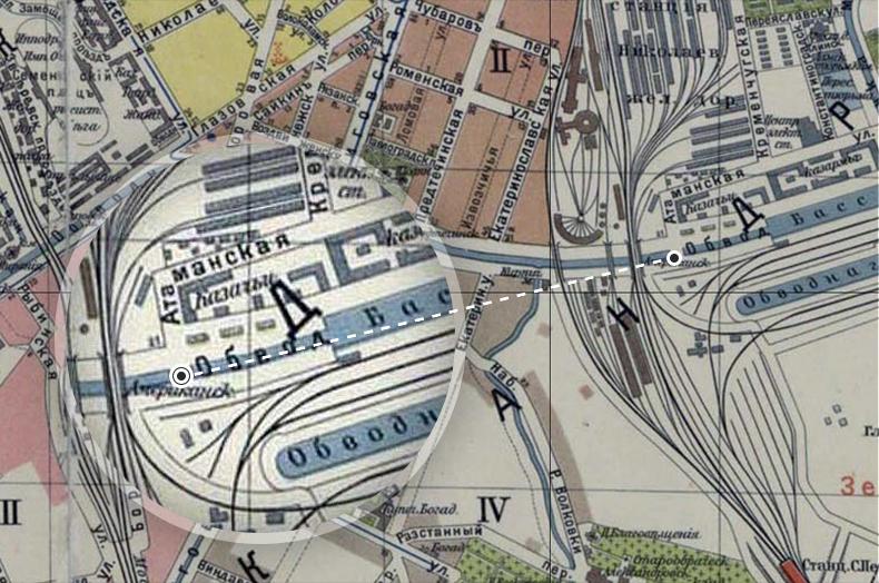 Атаманский (пока безымянный) и Американский мосты на плане Санкт-Петербурга 1913 года