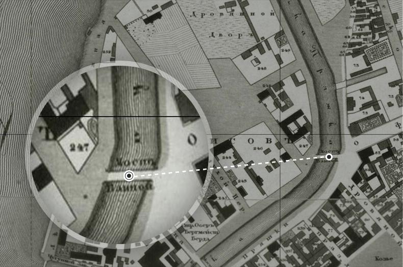 Банный мост на плане Петербурга 1828 года