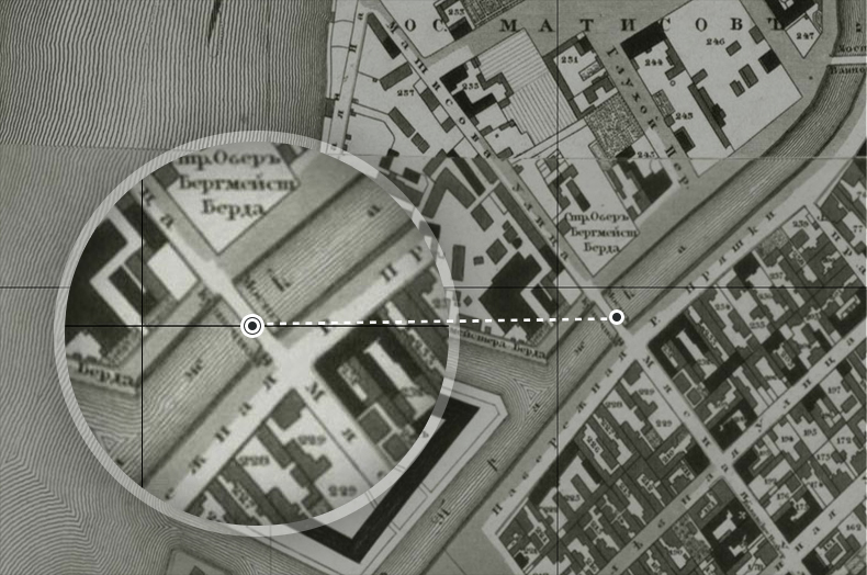 Кузнечный (ныне Бердов) мост на плане Санкт-Петербурга 1828 года