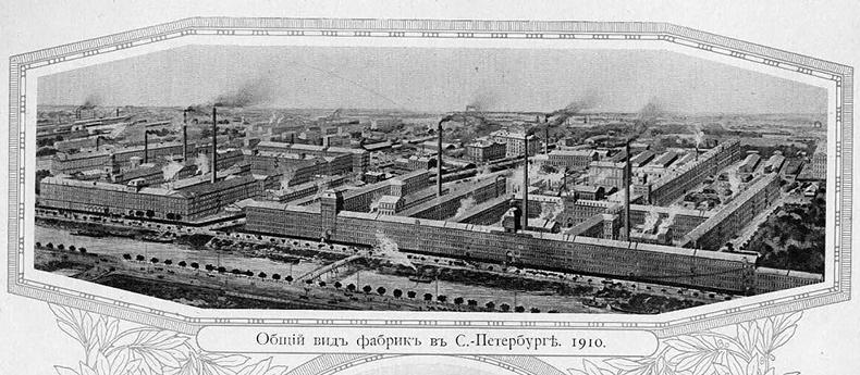 Панорама завода «Треугольник» и Борисов мост на гравюре 1910 года