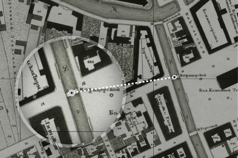 Офицерский мост на плане Санкт-Петербурга 1828 года