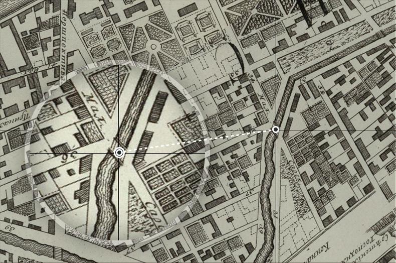 Малая Сарская улица и мост на плане Петербурга 1753 года