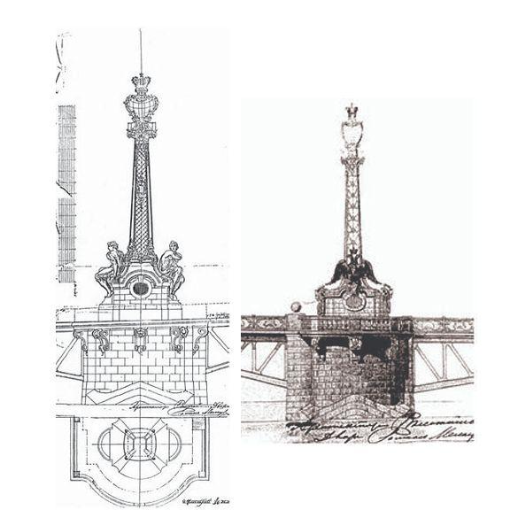 Первоначальный и окончательный проект башен-фонарей разводного пролета Дворцового моста