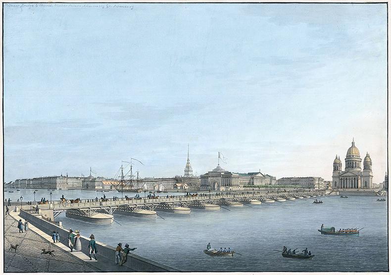 Исаакиевский наплавной мост. Литография С. Г. Хаммера по рисунку В. Треттера, 1820-е гг.