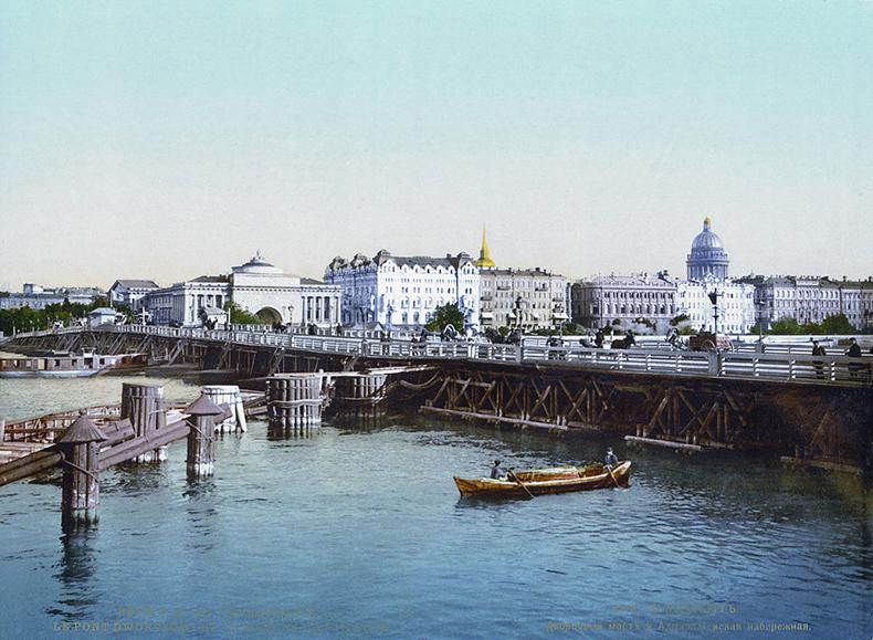 Наплавной Дворцовый мост, цветная фотолитография XIX века (1890—1900)