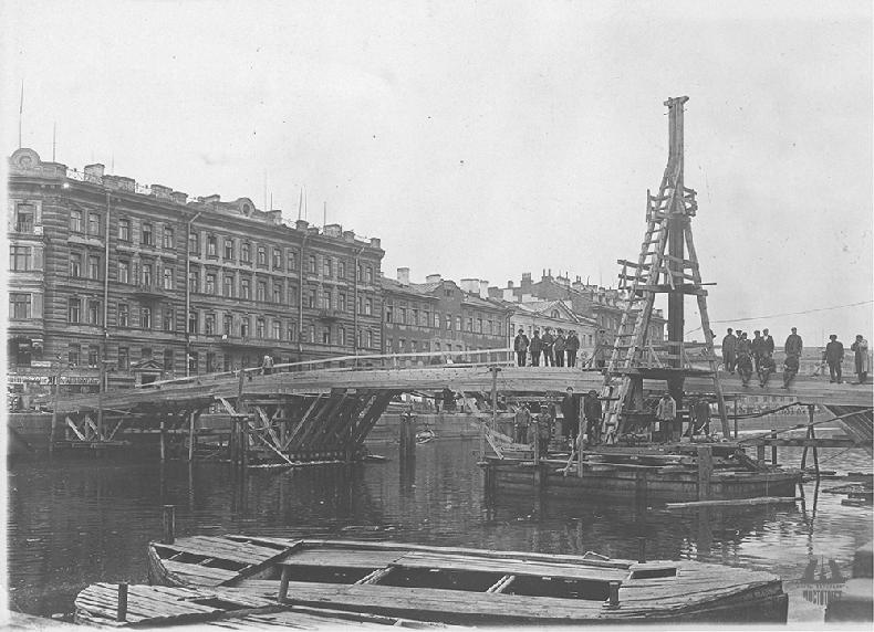 Ход реконструкции Горсткина моста в 1928 году