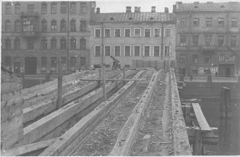 Ход реконструкции моста в 1949 году