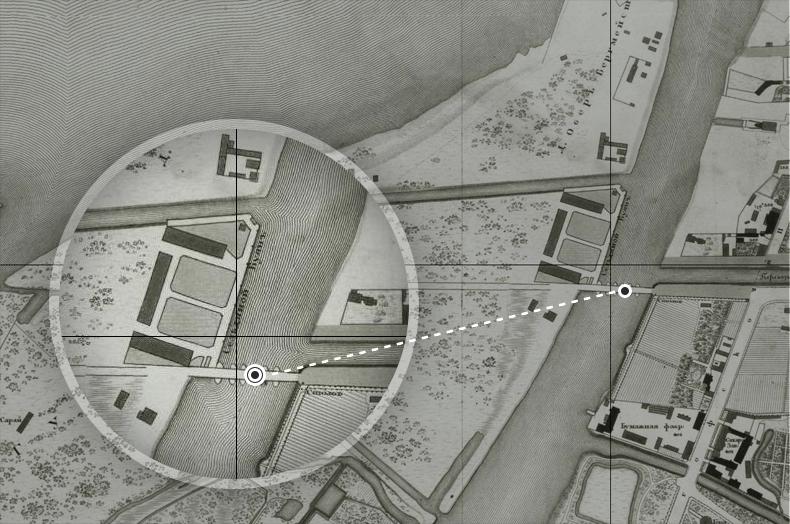Наплавной мост, предшественник Гутуевского моста, на плане Санкт-Петербурга 1828 года