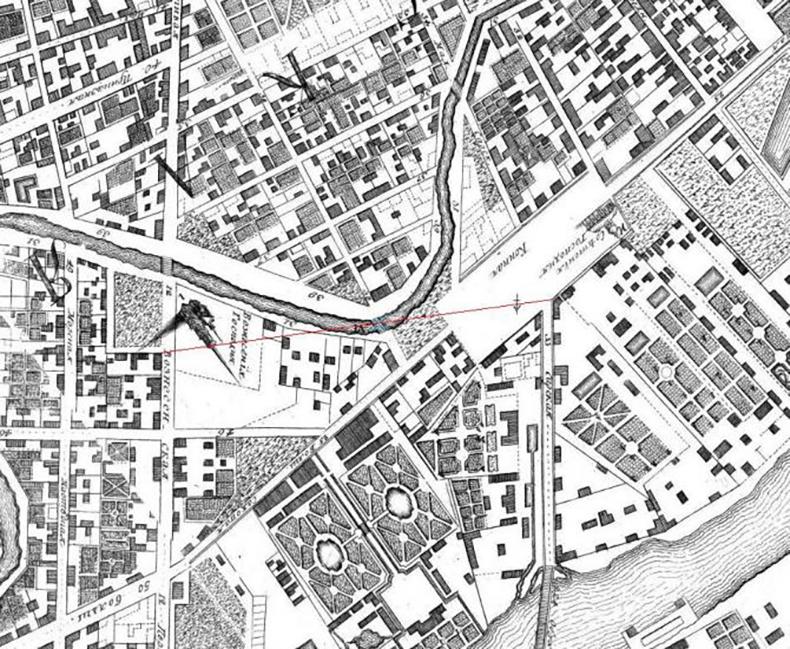Мост  на плане города 1753 года