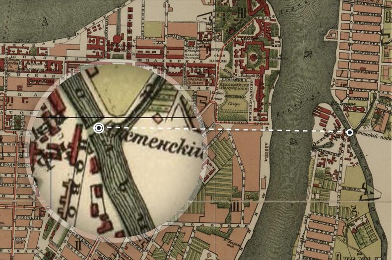 Охтенский подъемный мост на плане Санкт-Петербурга 1880 года