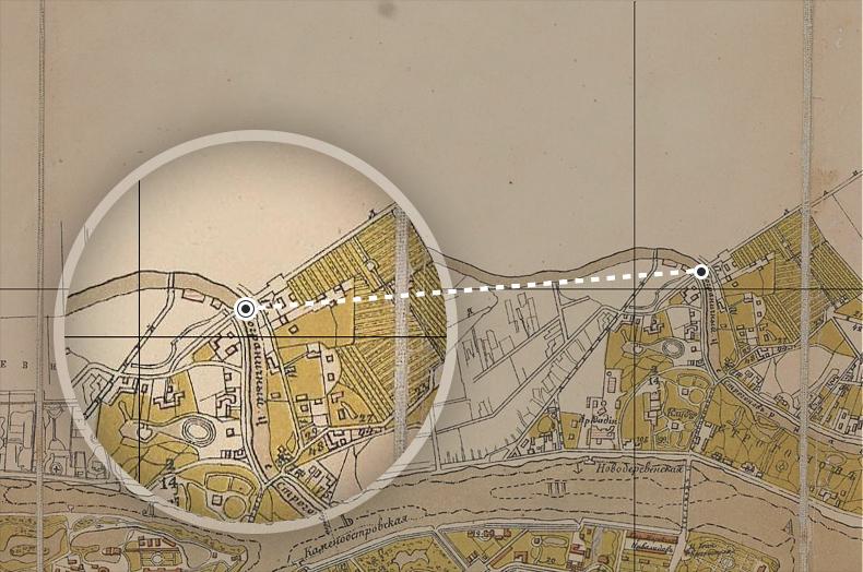 Пограничный мост на плане Санкт-Петербурга 1884 года