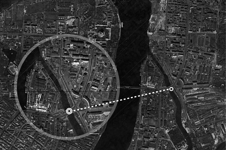 Район устья реки Охты на спутниковом снимке 1966 года