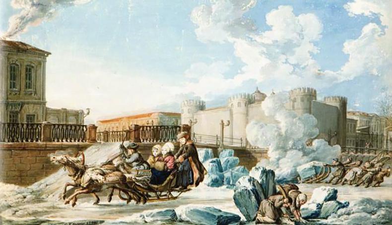 Мост на картине К. Ф. Кнаппе «Мойка у Тюремного замка», 1798 год