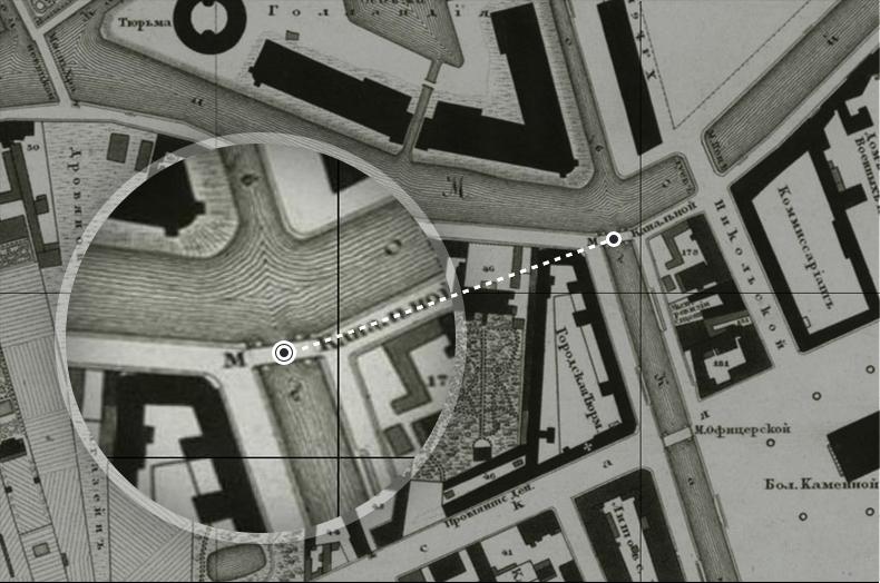 Канальный мост на плане Санкт-Петербурга 1828 года