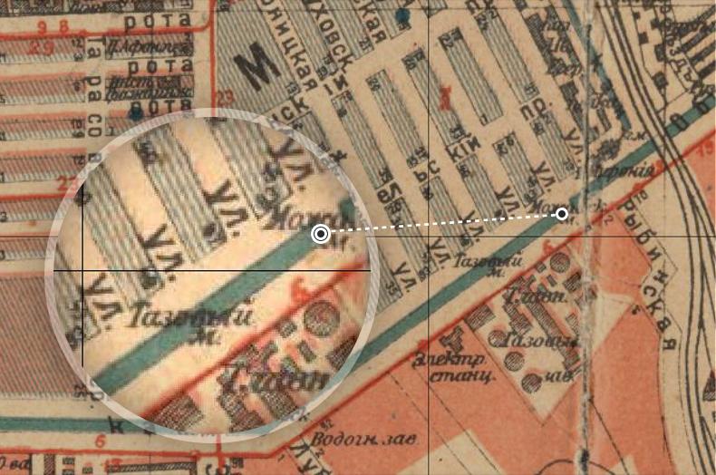 Газовый и Можайский мосты на плане Петрограда 1917 года