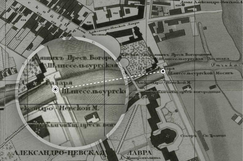 Шлиссельбургский (ныне Монастырский) мост на плане Санкт-Петербурга 1828 года