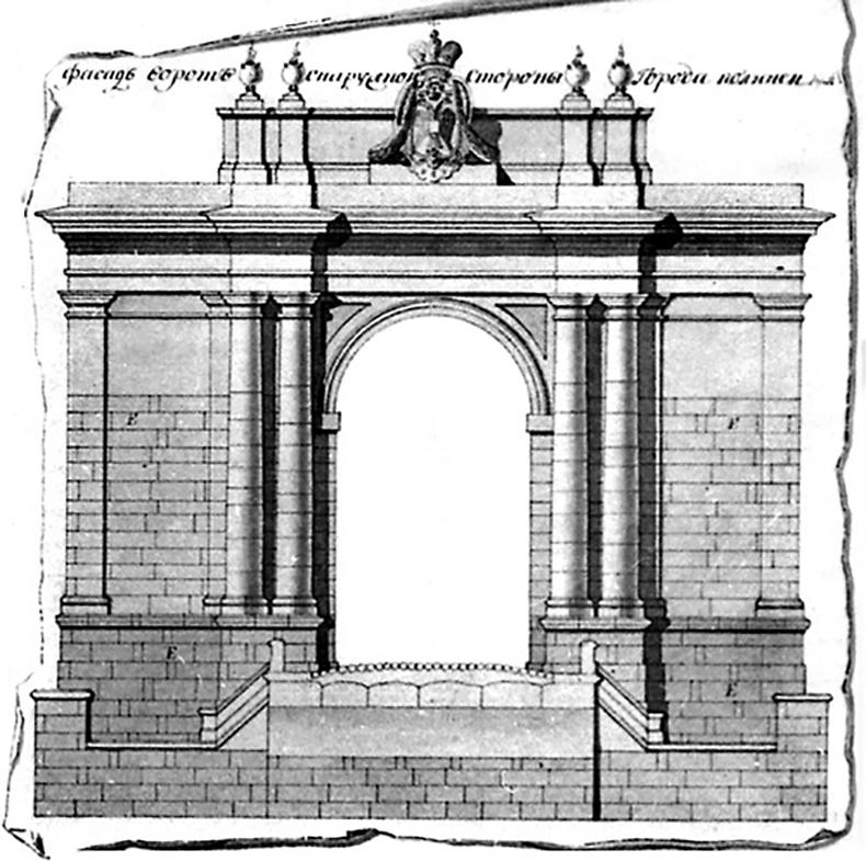 Эскизы фасада Лифляндских ворот и каменного моста через Новообводный канал