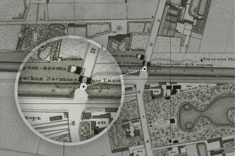 Нарвский мост и Нарвская застава на плане Санкт-Петербурга 1828 года