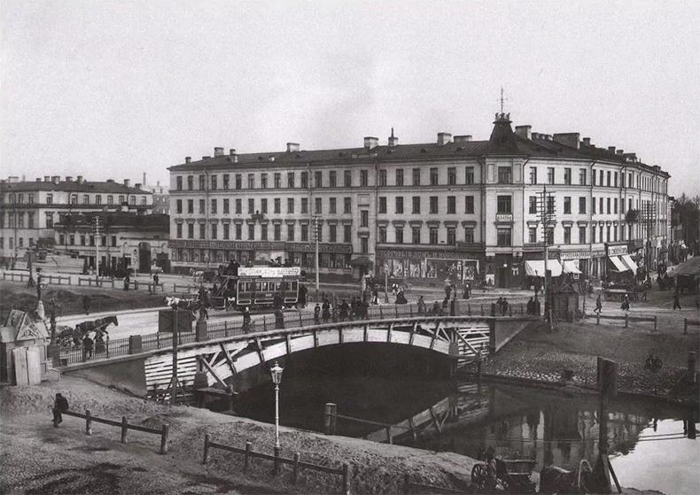 Конка на Ново-Калинкином мосту, начало XX века