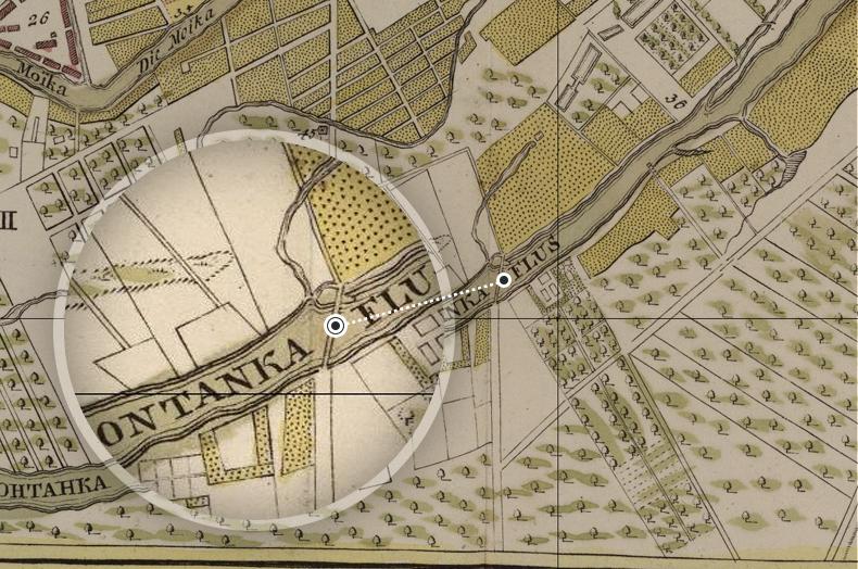 Переправа через Фонтанку по дороге на Саарскую мызу на плане Санкт-Петербурга 1737 года