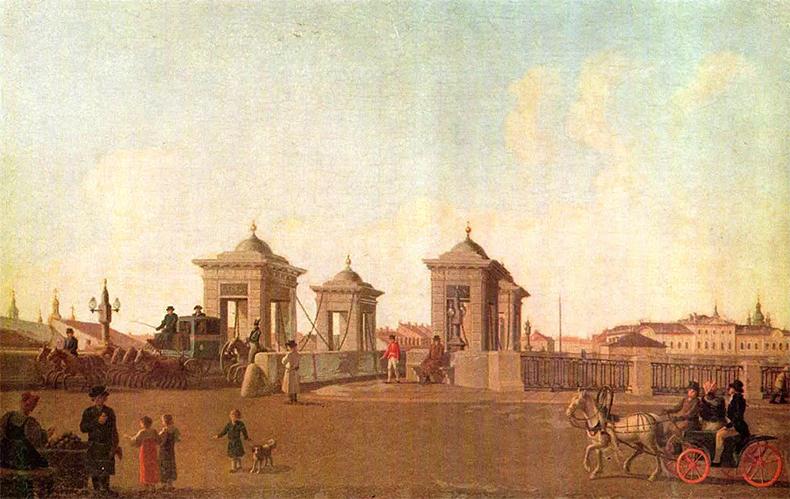 Обухов мост через Фонтанку на картине Б. Патерсена, 1790-е годы