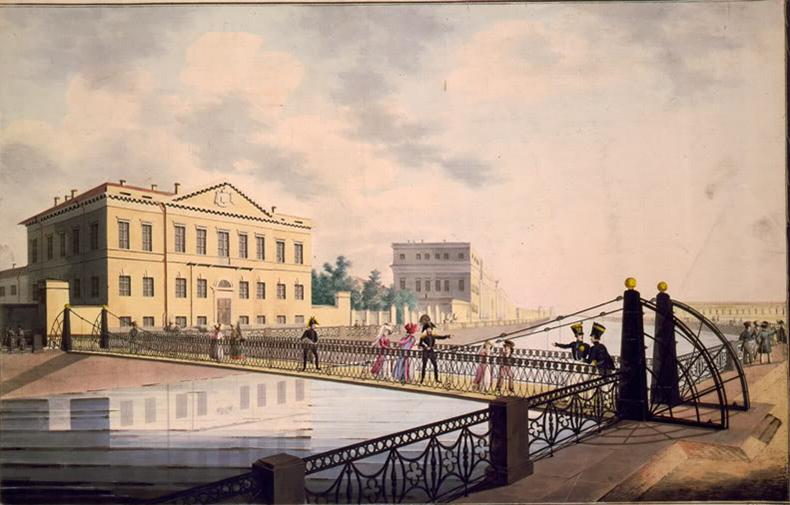 Мост на рисунке Вильгельма фон Треттера. 1820-е годы