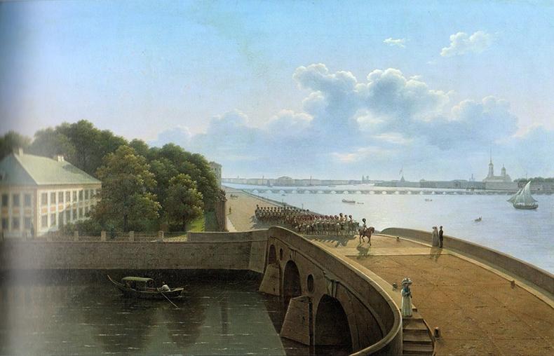 Прачечный мост и набережная Невы у Летнего сада. Воробьёв М. Н., 1823 год.