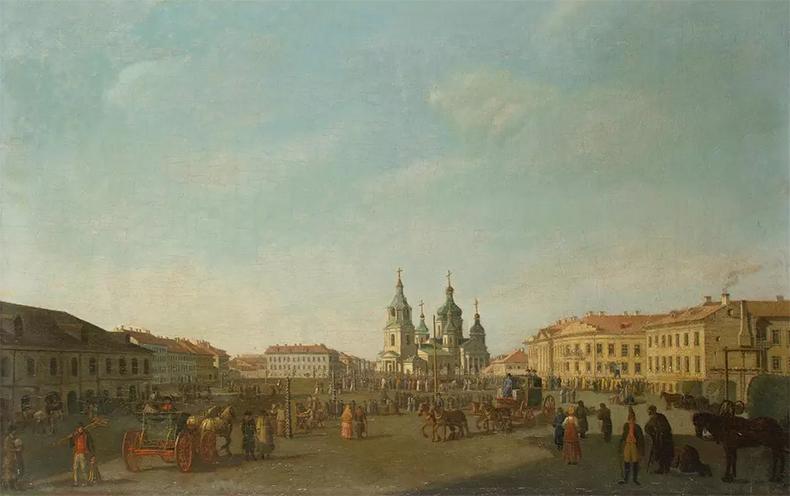Вид Сенной площади на акварели Б. Патерсена 1790-х годов