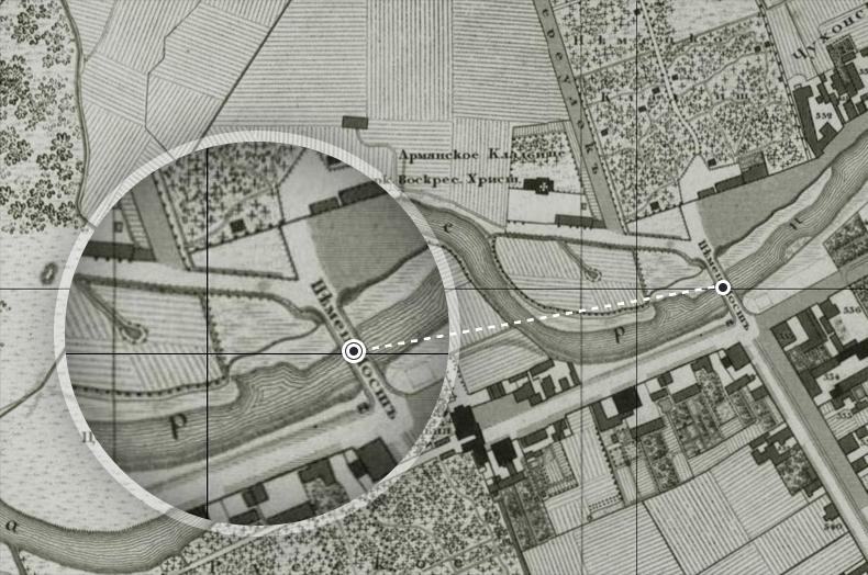Немецкий мост и Армянское кладбище на плане Санкт-Петербурга 1828 года