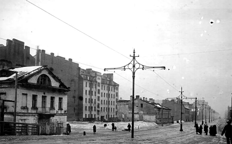 Трамвайная линия на Смоленском мосту в 1920-х годах