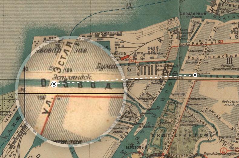 Эстляндский мост на плане Санкт-Петербурга 1917 года
