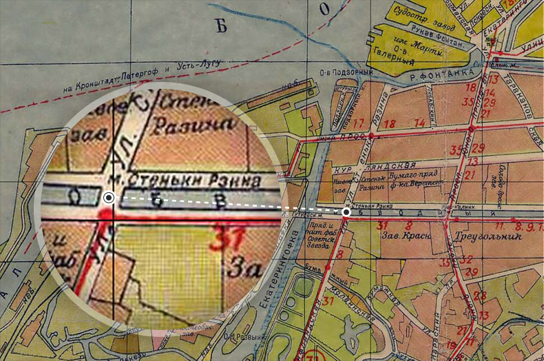 Мост Стеньки Разина на плане Санкт-Петербурга 1933 года