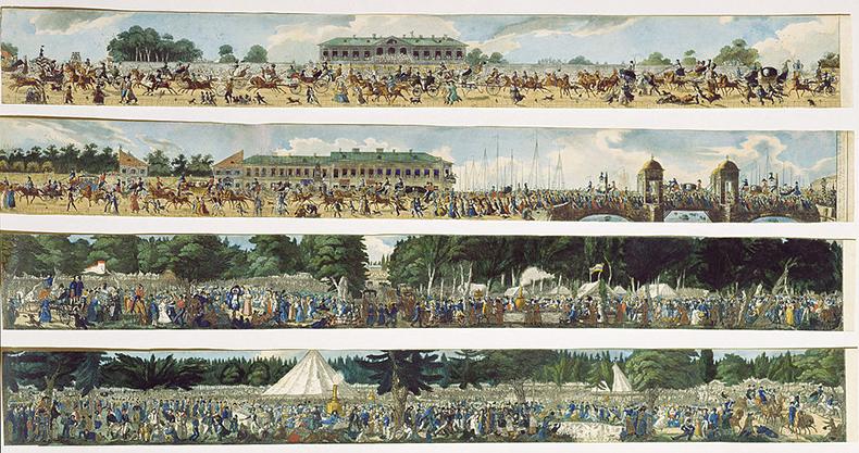 Карл Гампельн, гулянья в Екатерингофе. Середина XIX века