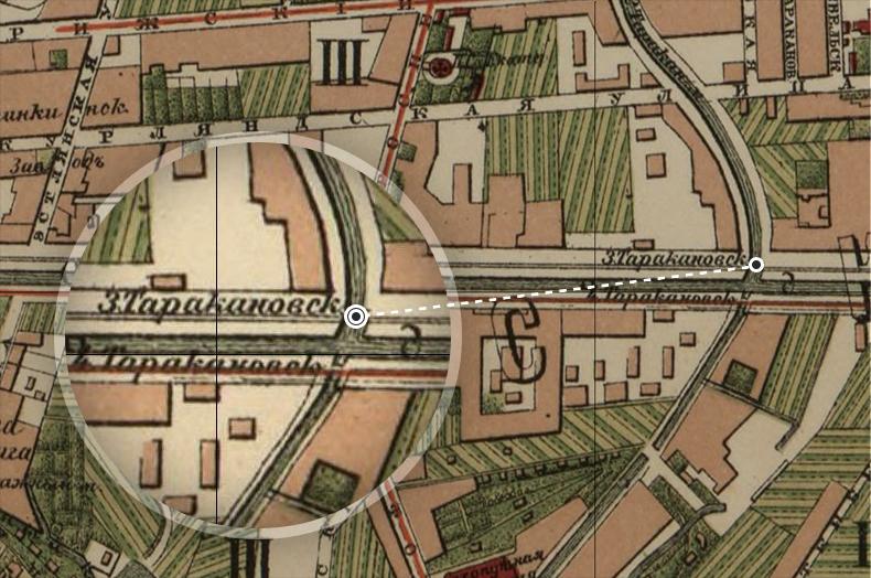 Обводный канал и Таракановские мосты на плане Санкт-Петербурга 1880 года