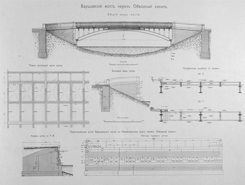 Чертежи нового Варшавского моста, 1908 год