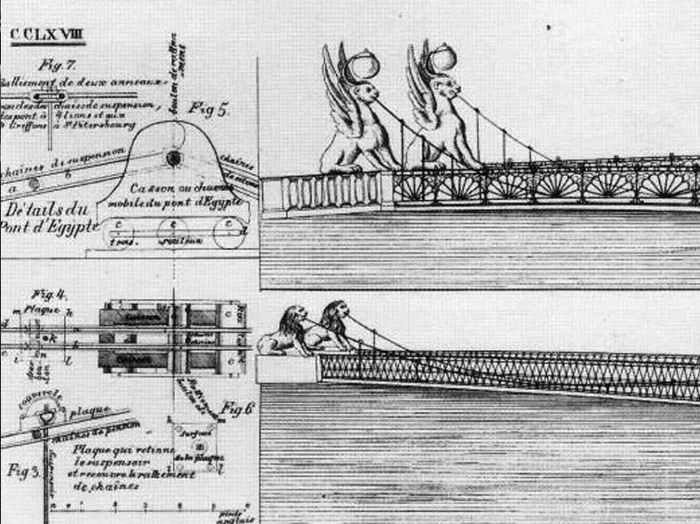 Эскиз проекта Банковского и Львиного мостов: http://panevin.ru/uploads/calendar/1826/otkrit_bankovskiy_most_1024.jpg