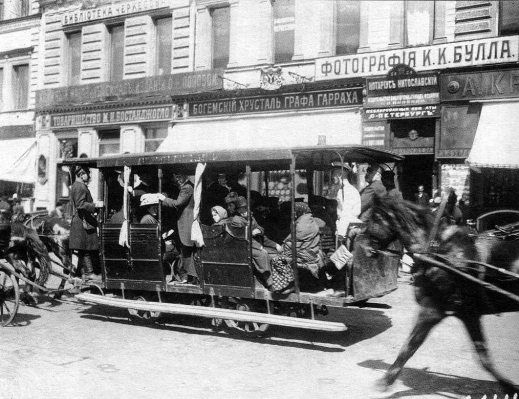 Петербургский омнибус, фото К. Буллы, 1900-е годы