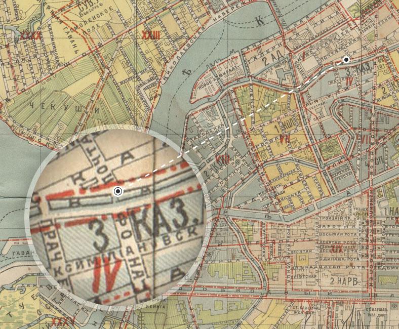 Фонарный мост на плане города 1908 года. Источник: http://www.kupsilla.ru/map.htm