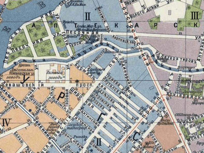 Геслеровский переулок и одноименный мост на плане СПб 1913 года, источник: http://retromap.ru/m.php#l=0020090&r=1419134&z=15&y=59.966497&x=30.306109&p=10