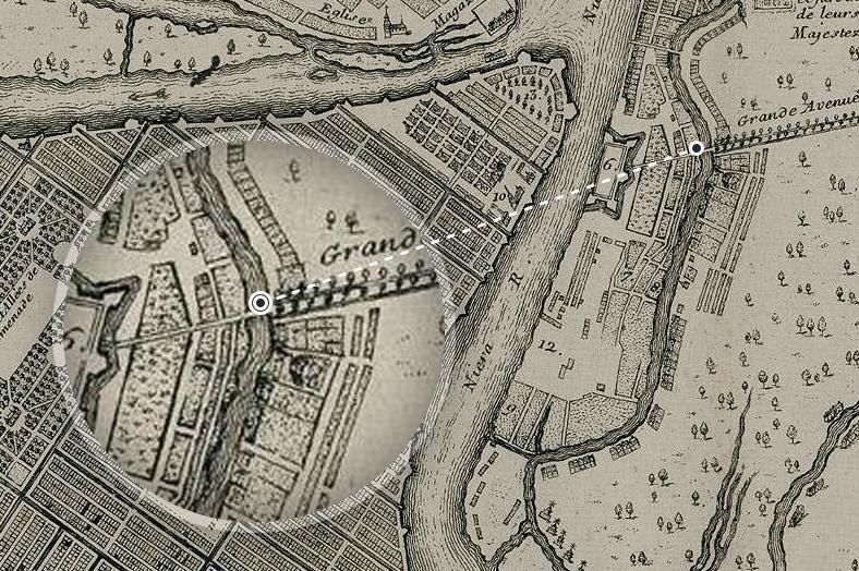Мост через реку Мойку на плане французского картографа Николя де Фера, 1717 год