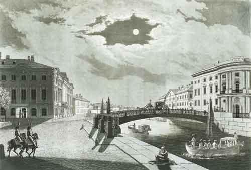 М. Дюбург. Вид на Мойку и Полицейский мост в Санкт-Петербурге, 1812 год