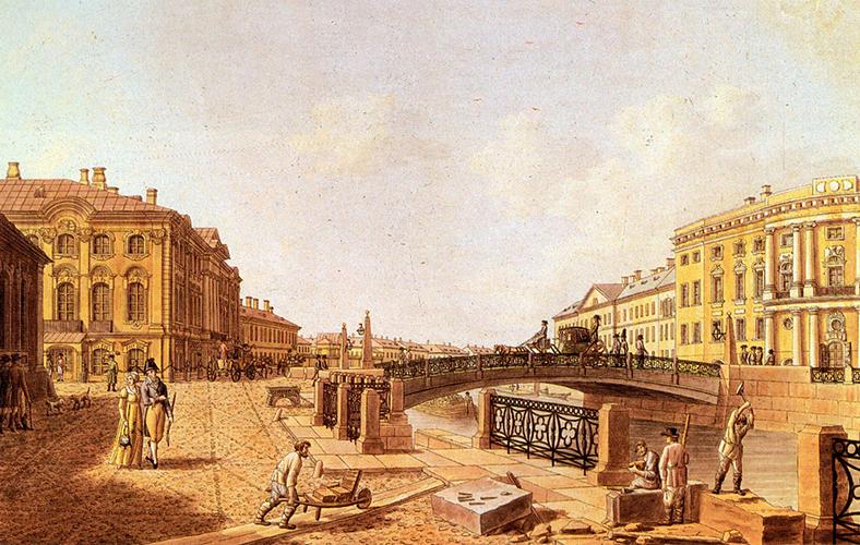 Б. Патерсен. Полицейский мост на Невском проспекте. 1810-е годы