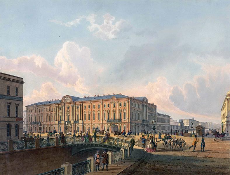 Полицейский мост в 1850-х годах. Гравюра по рисунку И.И. Шарлеманя