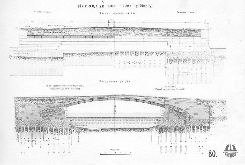 Чертеж Народного моста через реку Мойку из архива СПб ГБУ «Мостотрест»